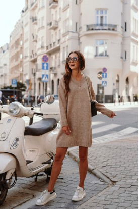 Sweater dress with cleavage LS301 cappuccino