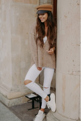 Sweater with buttons and longer back LS307 cappuccino