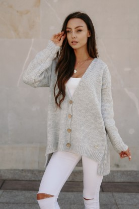 Sweater with buttons and longer back LS307 light grey