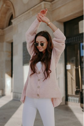 Sweater with buttons and longer back LS307 powder pink