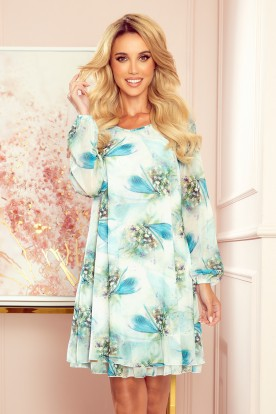 319-1 HANNAH chiffon dress with a neckline at the back - blue dragonflies