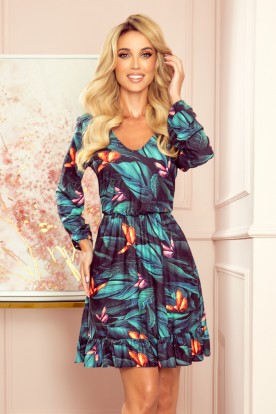 320-1 CORA dress with a neckline and a frill - colorful BUTTERFLIES