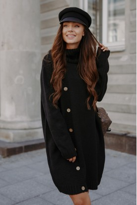 Sweater dress with turtleneck and buttons LS304 black