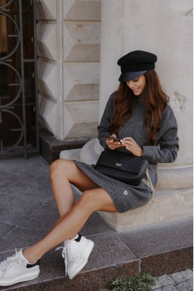 Sweater dress with turtleneck and buttons LS304 dark grey
