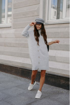 Sweater dress with turtleneck and buttons LS304 light grey