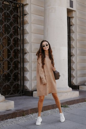Sweater dress with turtleneck and buttons LS304 camel