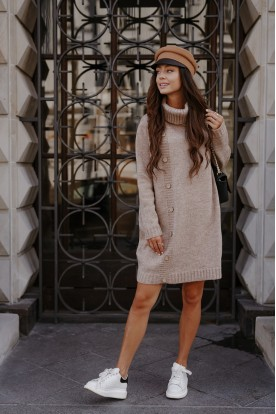 Sweater dress with turtleneck and buttons LS304 cappuccino