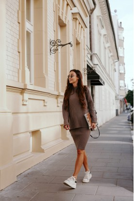 SET sweater turtleneck and skirt LS308 cappuccino