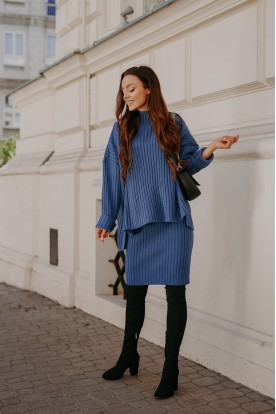 SET sweater turtleneck and skirt LS308 jeans