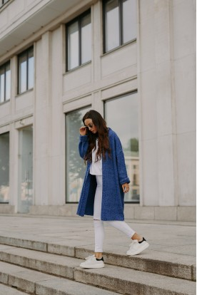 Oversize cardigan with stitching LS310 jeans