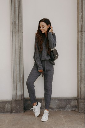 Knitted SET with weave LSG134 dark grey