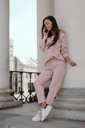 Knitted SET with weave LSG134 powder pink