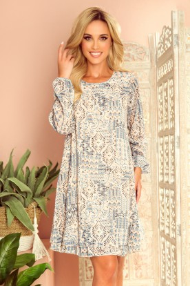 319-2 HANNAH chiffon dress with a neckline at the back - beige and blue boho pattern