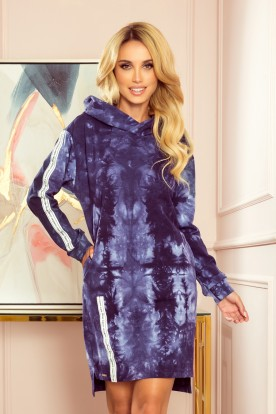 322-1 Hoodie with pockets - blue marble