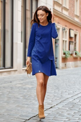 Cotton dress with fake pocket L346 navy