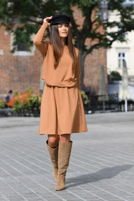 Cotton dress with buttons on the back L347 camel