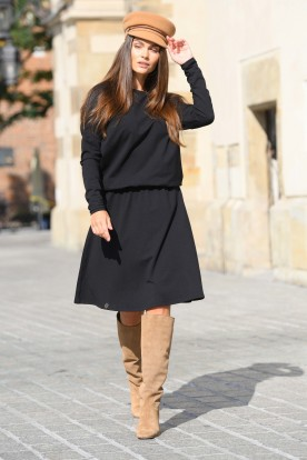 Cotton dress with buttons on the back L347 black