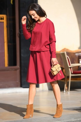 Cotton dress with buttons on the back L347 crimson