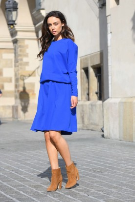 Cotton dress with buttons on the back L347 blue