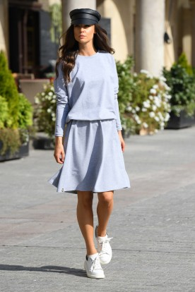 Cotton dress with buttons on the back L347 light grey