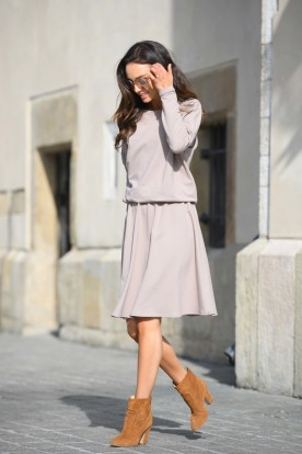 Cotton dress with buttons on the back L347 cappuccino