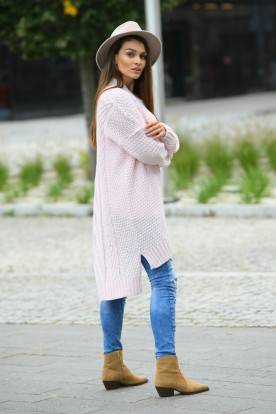 Long oversize cardigan with a weave LS302 powder pink