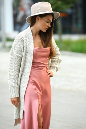 Long oversize cardigan with a weave LS302 beige