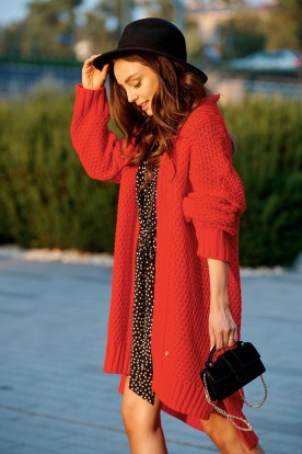 Long oversize cardigan with a weave LS302 red