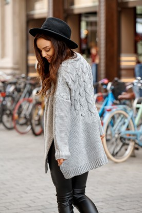 Sweater with cuts on the both sides LS309 light grey