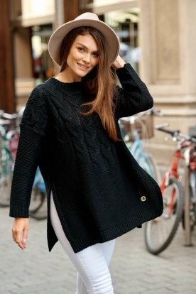 Sweater with cuts on the both sides LS309 black