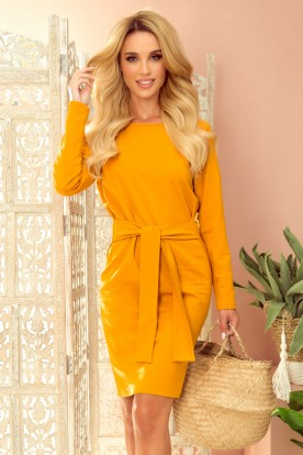 209-8 Dress with a wide tied belt - mustard