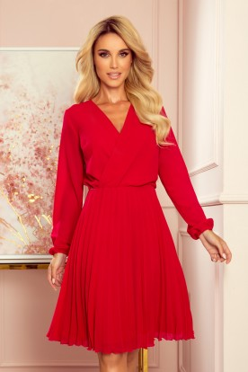 313-5 ISABELLE Pleated dress with neckline and long sleeve - Red