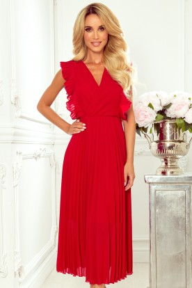 315-3 EMILY Pleated dress with frills and neckline - red