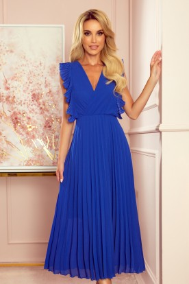 315-2 EMILY Pleated dress with frills and neckline - Blue
