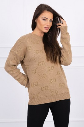 Sweter GG camelowy