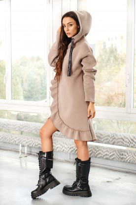 Cotton dress/sweatshirt with a frill LN119 cappuccino