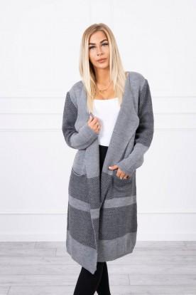 Sweter z klapami szary+czarny