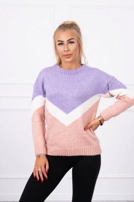 Sweter w geometryczne wzory fioletowy+pudrowy róż