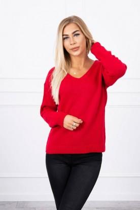 Sweter z dekoltem V czerwony