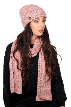 Set of hat and scarf with wool LC125 salmon