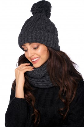 Cap with a pompom and a scarf LC128 dark grey