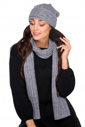 Classic hat and scarf with a blend of wool LC129 light grey