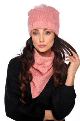 Cap with fur pompom and scarf LC132 salmon
