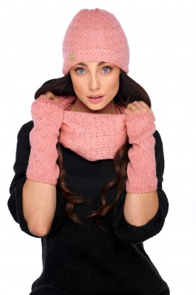 Set of hat, scarf and gloves LC133 salmon