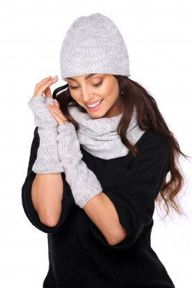 Set of hat, scarf and gloves LC133 light grey