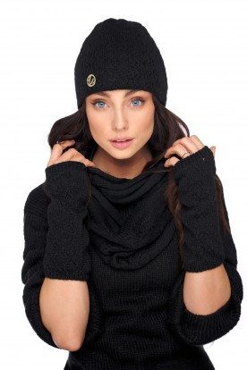 Set of hat, scarf and gloves LC133 black