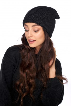 Basic hat with wool and mohair LC135 black