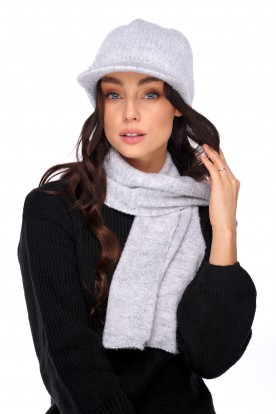 Set of cap with a visor and a scarf LC138 light grey