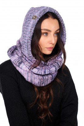 Hood scarf with wool LC139 navy