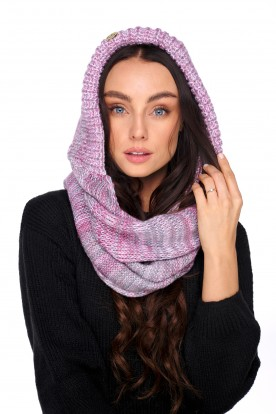 Hood scarf with wool LC139 pink